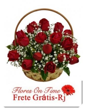 087-Cesta 24 Rosas vermelhas