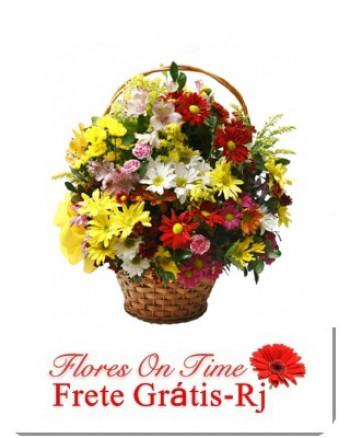 019-Cesta Pequena de Flores do Campo