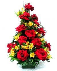 157-Corbelha de Rosas vermelhas